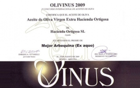 Award for the BEST ARBEQUINA 2009 and PRESIGIO ORO 2009 : Hacienda Ortigosa Oil Press