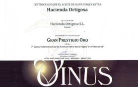 Award GRAN PRESTIGIO DE ORO – OLIVINUS 2013  : Hacienda Ortigosa Oil Press